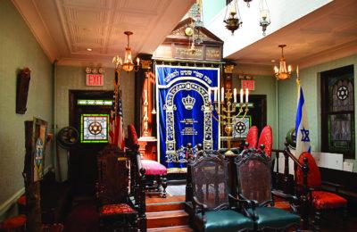 The interior of the Romaniote synagogue Kehila Kedosha Janina on Broome Street in Manhattan.