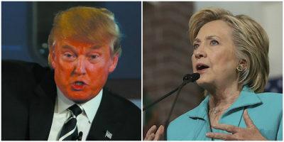 Head to Head, Toe to Toe: Trump, right. Clinton, left. (Justin Sullivan/Getty)