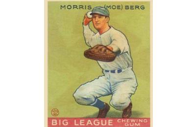 1933 Goudey baseball card of Moe Berg of the Washington Senators, #158. (Wikimedia)