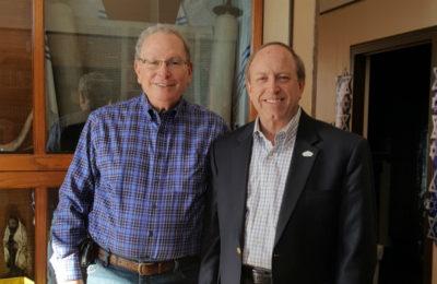 Colorado Springs Mayor John Suthers, r, with Harry Sazlman, Temple Shalom member.