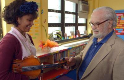 Joe Feingold and Brianna Perez in the Oscar-nominated short documentary 'Joe's Violin.'