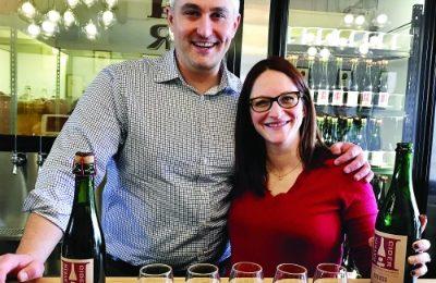 Daniel and Talia Haykin in the tasting room. (Sara Schiffer)