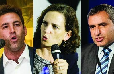 L-r: Ofer Berkovitch, Rachel Azaria, Ze'ev Elkin (Flash90)