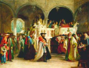 Solomon Alexander Hart depicts Simchat Torah in Leghorn, Italy. (Wikimedia)