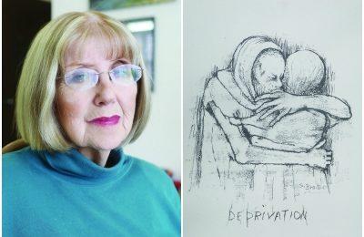 Sara Moses, left, and her drawing 'Deprivation' (Aleksei Kolesnikov)