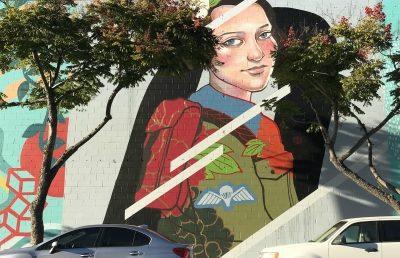 Julie Robertson's mural of Hannah Senesh in downtown San Diego.